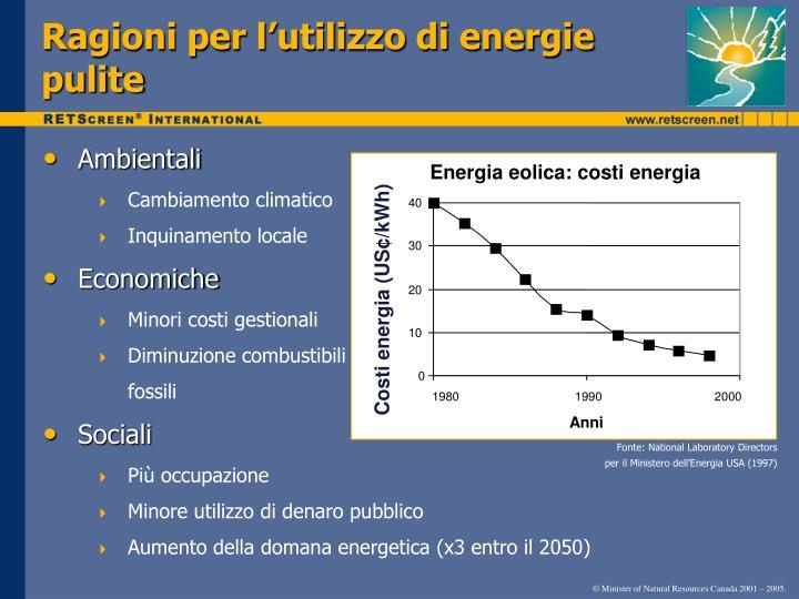 Ragioni per l'utilizzo di energie pulite