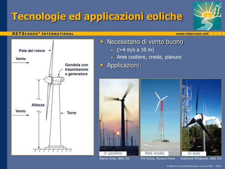 Tecnologie ed applicazioni eoliche