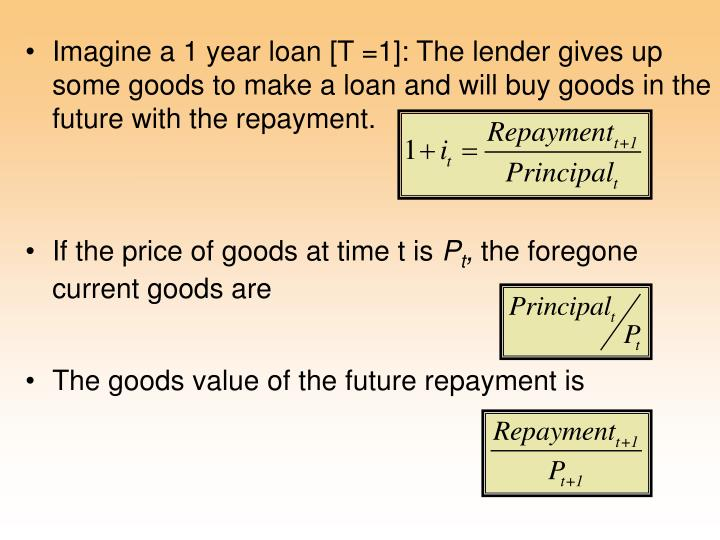 Imagine a 1 year loan [T =1]: The lender gives up some goods to make a loan and will buy goods in the future with the repayment.