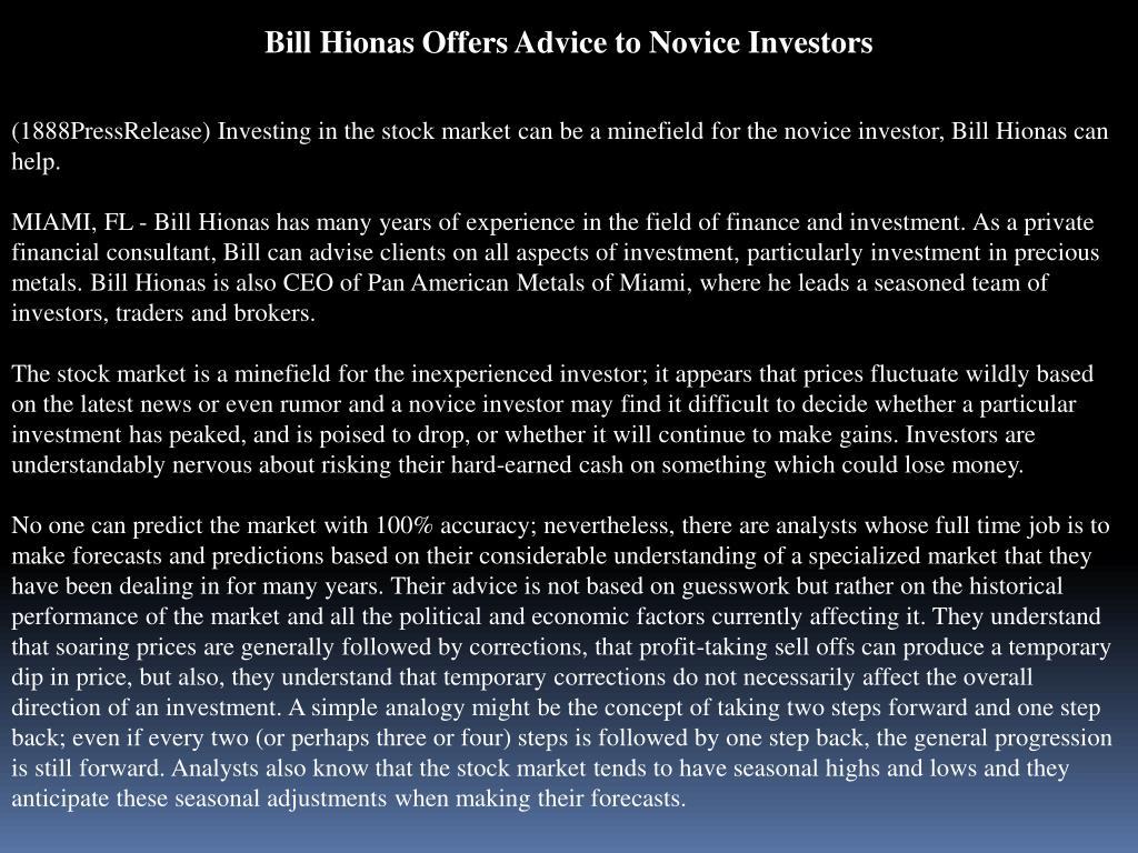 Bill Hionas Offers Advice to Novice Investors