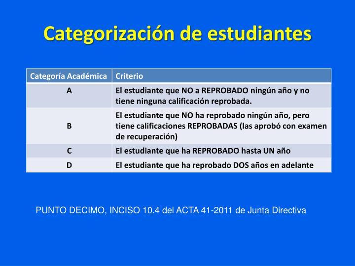 Categorización de estudiantes