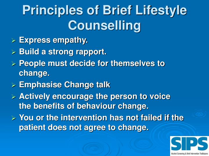 Principles of Brief Lifestyle Counselling