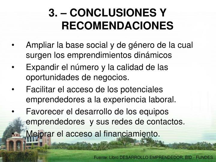 3. – CONCLUSIONES Y RECOMENDACIONES