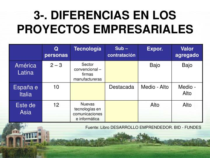 3-. DIFERENCIAS EN LOS PROYECTOS EMPRESARIALES