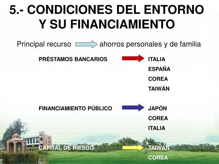 5.- CONDICIONES DEL ENTORNO Y SU FINANCIAMIENTO