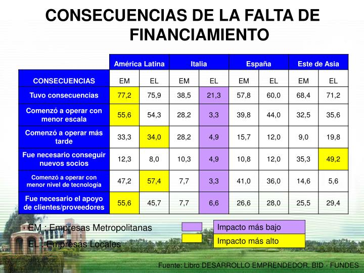 CONSECUENCIAS DE LA FALTA DE FINANCIAMIENTO