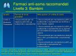 farmaci anti asma raccomandati livello 3 bambini