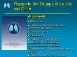 rapporto del gruppo di lavoro del gina2