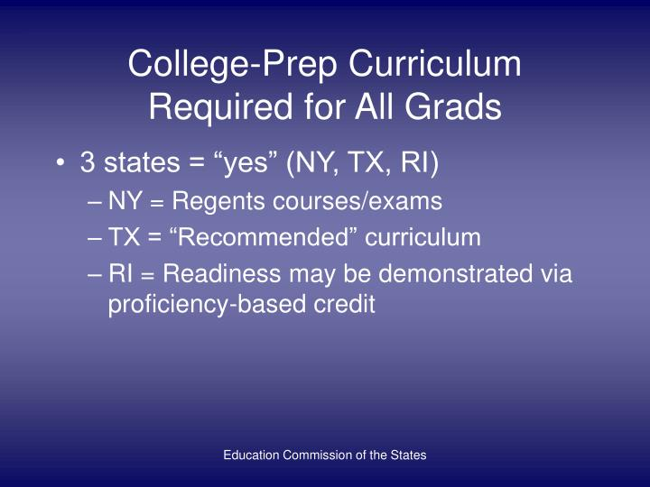 College-Prep Curriculum Required for All Grads