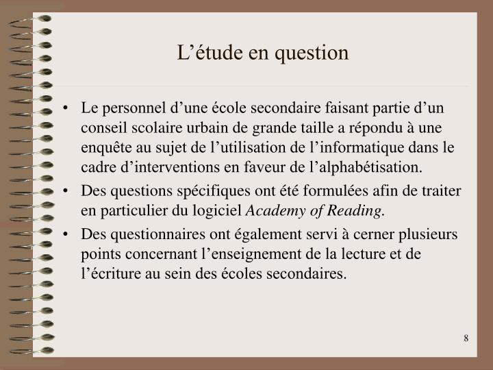 L'étude en question