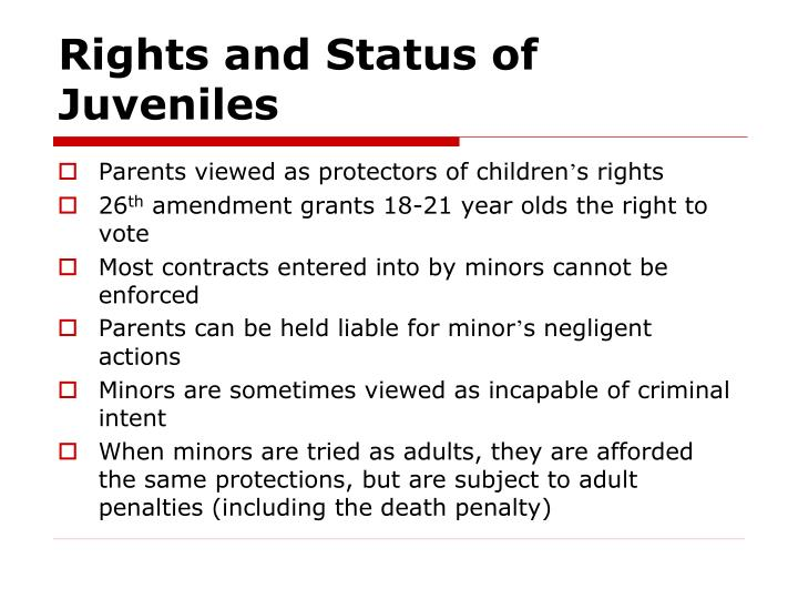 Rights and Status of Juveniles
