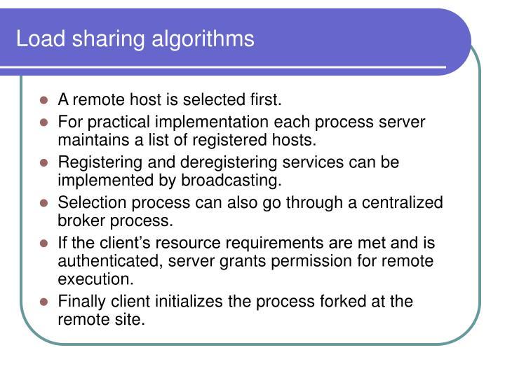 Load sharing algorithms