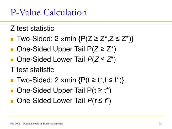 P-Value Calculation