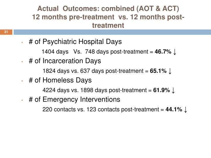 Actual  Outcomes: combined (AOT & ACT)