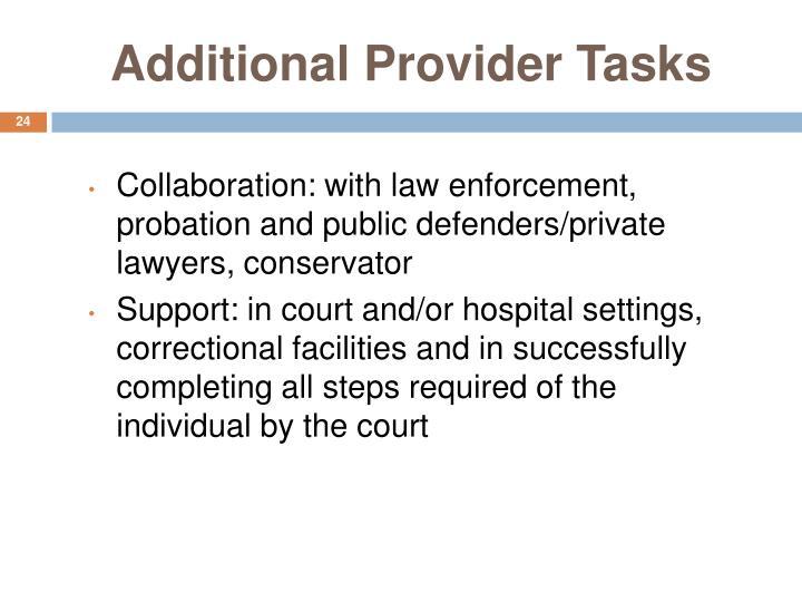 Additional Provider Tasks