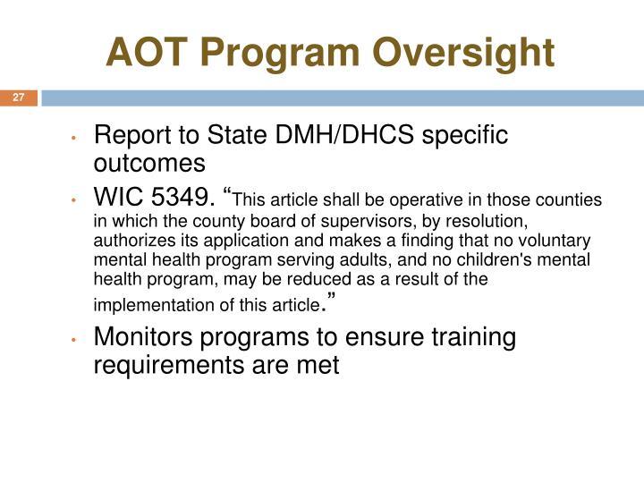 AOT Program Oversight
