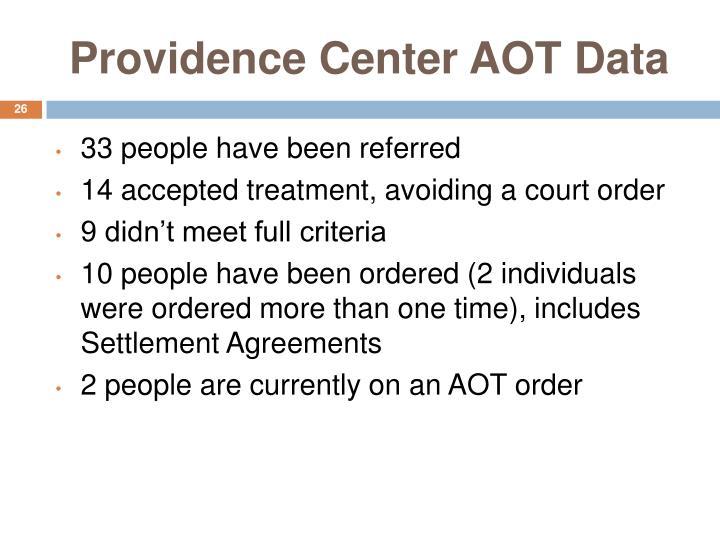 Providence Center AOT Data
