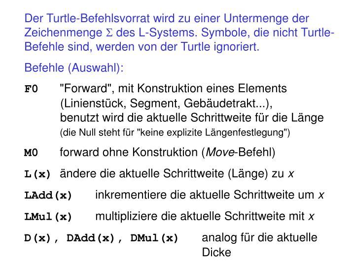 Der Turtle-Befehlsvorrat wird zu einer Untermenge der Zeichenmenge