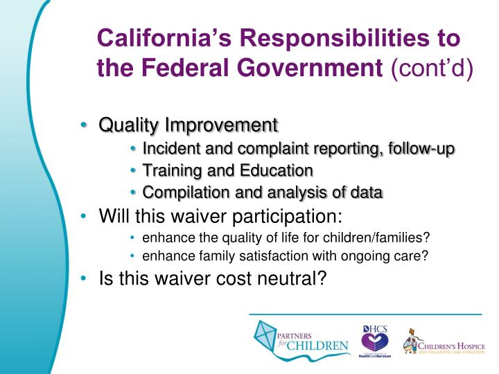 California's Responsibilities to the Federal Government