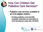 how can children get palliative care services
