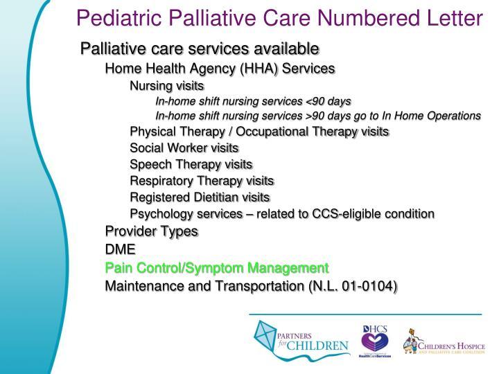 Pediatric Palliative Care Numbered Letter