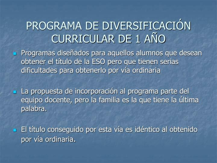 PROGRAMA DE DIVERSIFICACIÓN CURRICULAR DE 1 AÑO