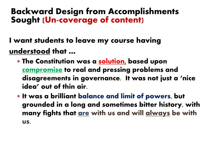 Backward Design from Accomplishments Sought