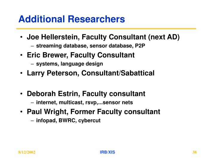 Additional Researchers