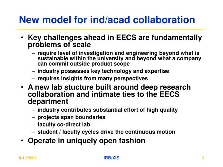 New model for ind acad collaboration
