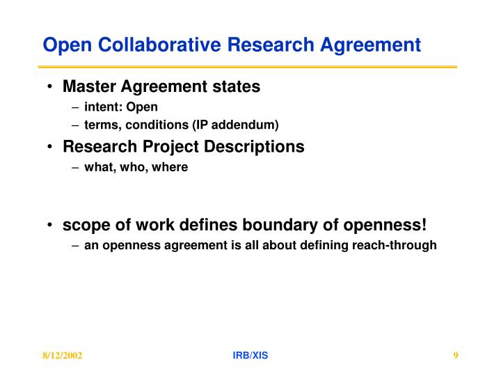Open Collaborative Research Agreement