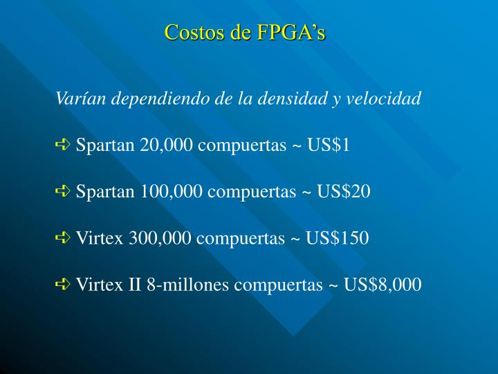 Costos de FPGA's