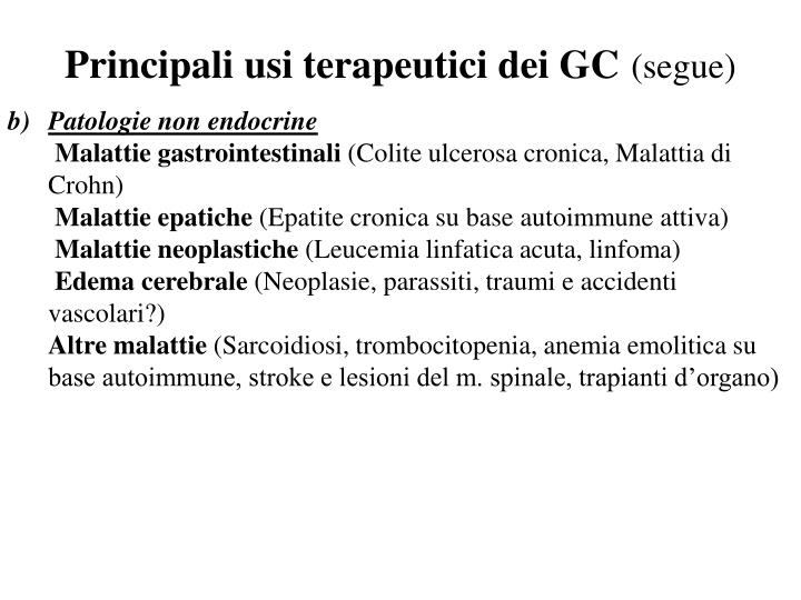 Principali usi terapeutici dei GC