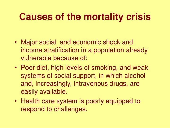 Causes of the mortality crisis