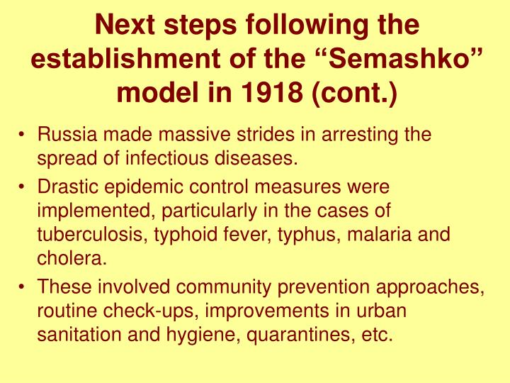 "Next steps following the establishment of the ""Semashko"" model in 1918 (cont.)"