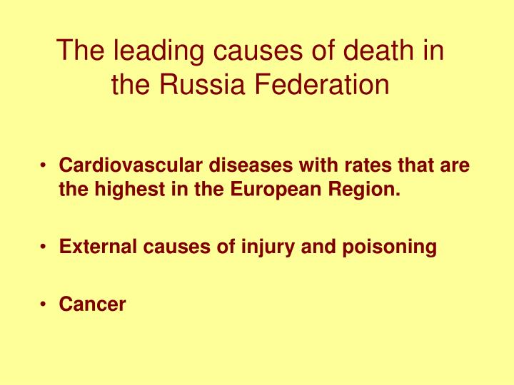 The leading causes of death in the Russia Federation