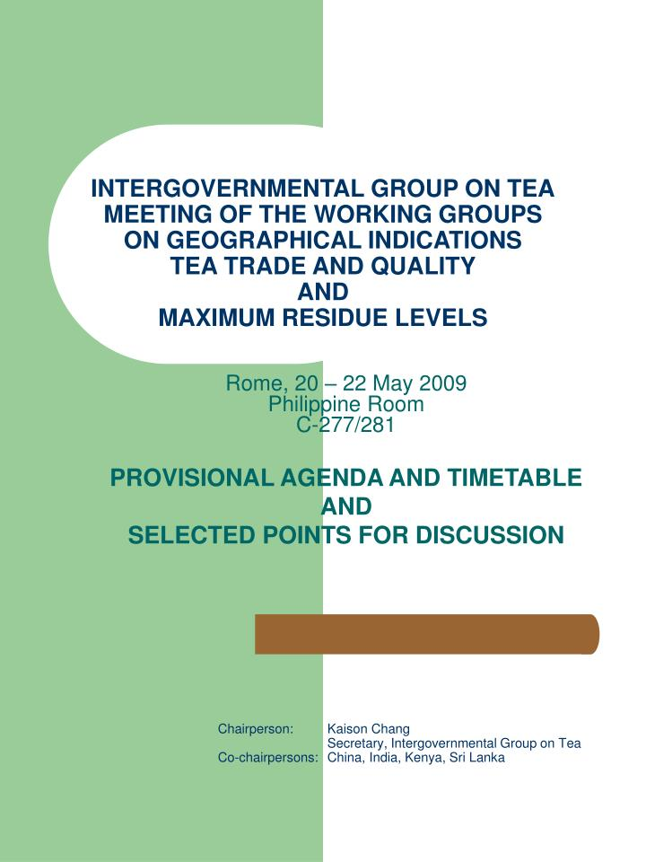INTERGOVERNMENTAL GROUP ON TEA