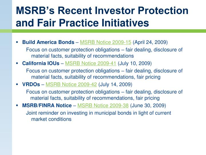 MSRB's Recent Investor Protection