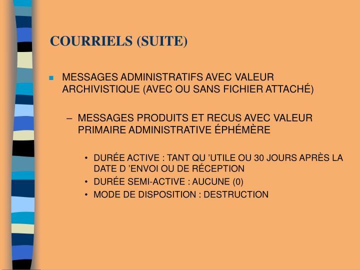 COURRIELS (SUITE)