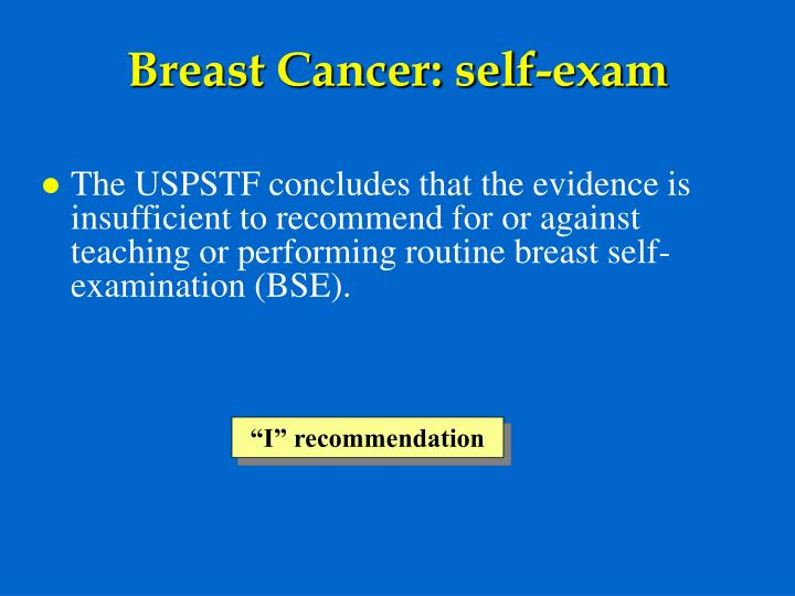 Breast Cancer: self-exam