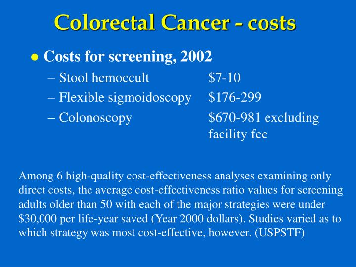 Colorectal Cancer - costs