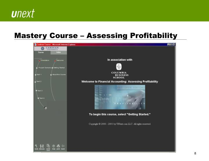 Mastery Course – Assessing Profitability