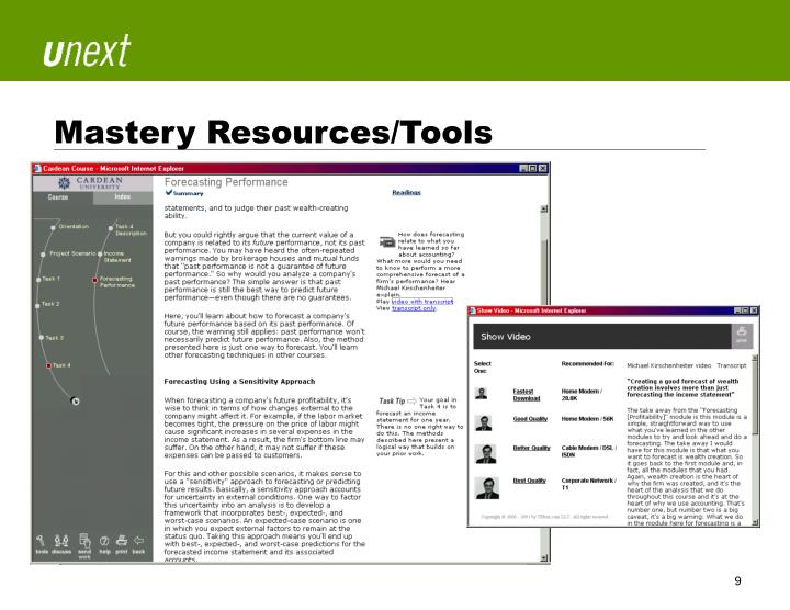 Mastery Resources/Tools