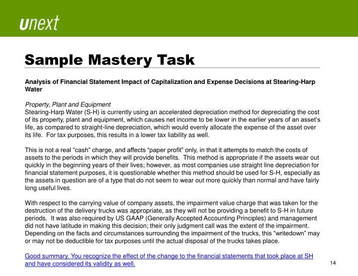 Sample Mastery Task