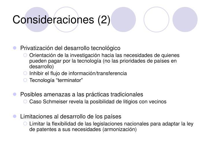 Consideraciones (2)