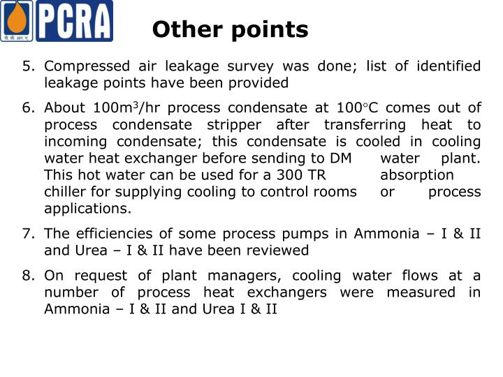 5. Compressed air leakage survey was done; list of identified leakage points have been provided