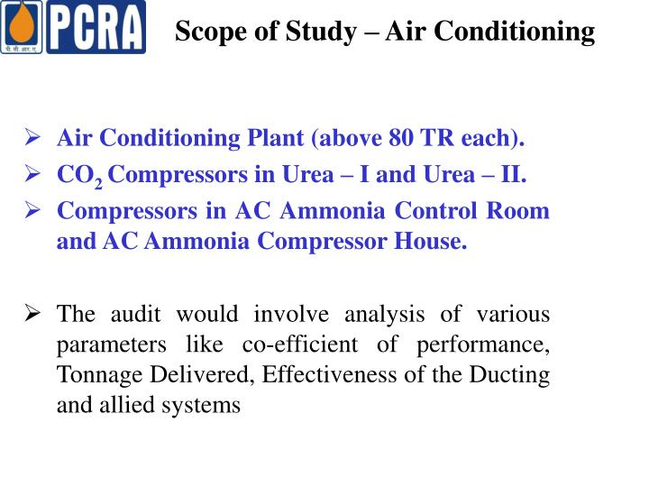 Scope of Study – Air Conditioning