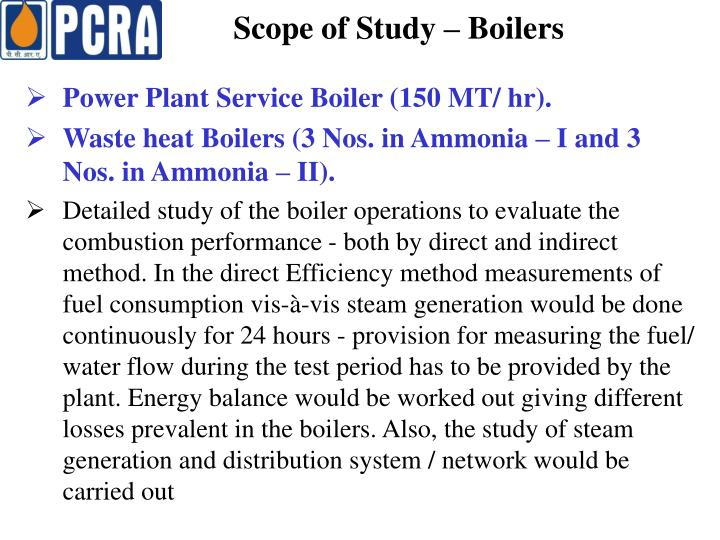 Scope of Study – Boilers