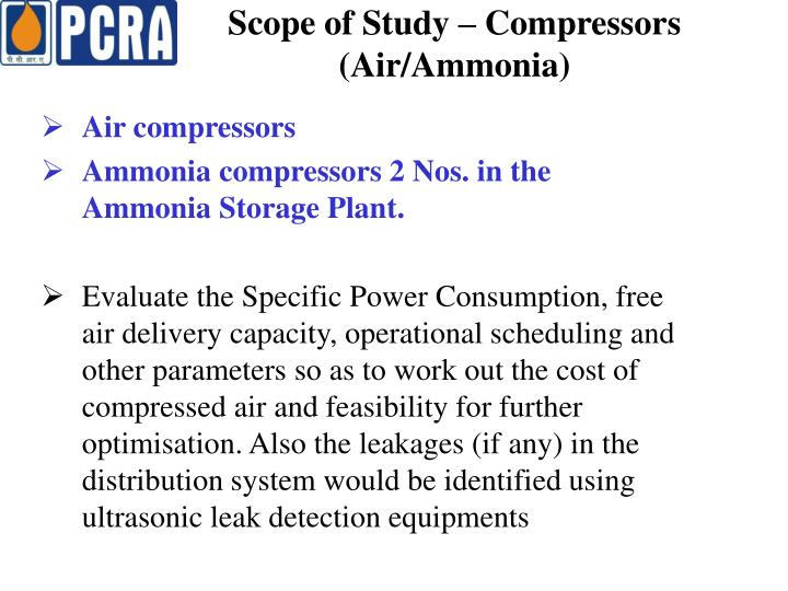Scope of Study – Compressors (Air/Ammonia)