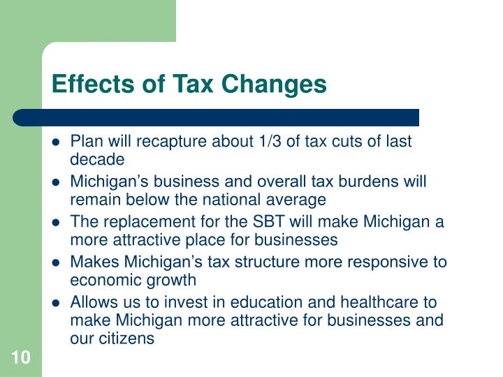 Effects of Tax Changes