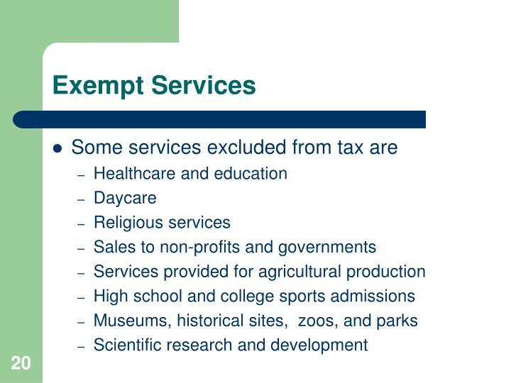 Exempt Services